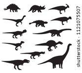 dinosaurs silhouette icon set.... | Shutterstock .eps vector #1121075507