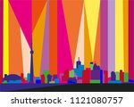 colorful abstract skyline of... | Shutterstock .eps vector #1121080757