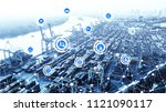 world map with logistic network ... | Shutterstock . vector #1121090117