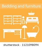 bedding and furniture zone | Shutterstock .eps vector #1121098094