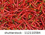 red chili peppers  closeup view | Shutterstock . vector #112110584