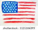 star striped us flag drawn in... | Shutterstock . vector #1121106395