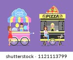 sweet cotton candy tasty pizza... | Shutterstock .eps vector #1121113799