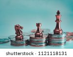 vintage retro stack of coins to ... | Shutterstock . vector #1121118131