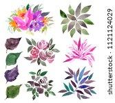 watercolor flowers set. drawing ... | Shutterstock . vector #1121124029
