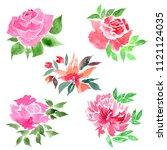watercolor flowers set. drawing ... | Shutterstock . vector #1121124035
