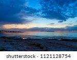 beautiful sunset in western... | Shutterstock . vector #1121128754