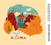 little house in the autumnal...   Shutterstock .eps vector #1121131514