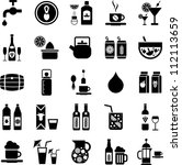 Beverages icons - stock photo