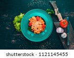 farfalle pasta with tomatoes...   Shutterstock . vector #1121145455
