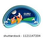 guru purnima concept  of paper... | Shutterstock .eps vector #1121147204