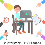 man at computer charged with... | Shutterstock .eps vector #1121150861