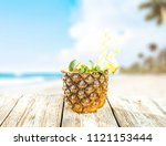 fresh pineapple and summer time.... | Shutterstock . vector #1121153444