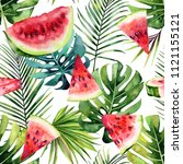 watermelon with a tropical... | Shutterstock . vector #1121155121