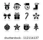 christmas black icons with... | Shutterstock .eps vector #112116137