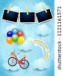 surreal sky with balloons  bike ... | Shutterstock .eps vector #1121161571