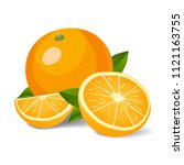 fresh oranges with leaves....   Shutterstock .eps vector #1121163755