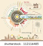 Infographics Industrial buildings and residential areas, illustrator Vector   Shutterstock vector #112116485