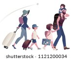 traveling family with suitcases ... | Shutterstock .eps vector #1121200034