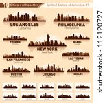 skyline city set. 10 cities of... | Shutterstock .eps vector #112120727