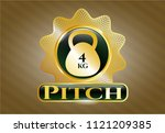 gold emblem or badge with 4kg... | Shutterstock .eps vector #1121209385