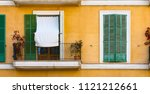 close up of balcony and rustic... | Shutterstock . vector #1121212661