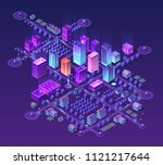 isometric city set of violet... | Shutterstock .eps vector #1121217644