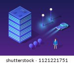 isometric city set of violet... | Shutterstock .eps vector #1121221751