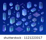 isometric city set of violet... | Shutterstock .eps vector #1121223317