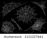 collection of cobweb  isolated... | Shutterstock .eps vector #1121227661
