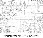 grungy technical drawing... | Shutterstock . vector #112123391