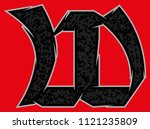 ragged gothic vector font.   Shutterstock .eps vector #1121235809
