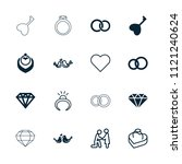 marriage icon. collection of 16 ... | Shutterstock .eps vector #1121240624