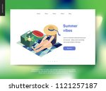 picnic template   flat cartoon... | Shutterstock .eps vector #1121257187