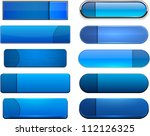 set of blank blue buttons for... | Shutterstock .eps vector #112126325
