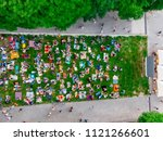 aerial view of people that... | Shutterstock . vector #1121266601