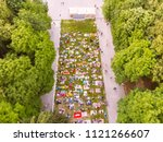 aerial view of people that... | Shutterstock . vector #1121266607