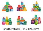 present box with bright... | Shutterstock .eps vector #1121268095
