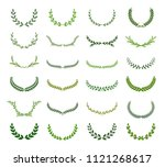 set of green silhouette laurel...   Shutterstock .eps vector #1121268617