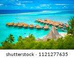aerial view of overwater... | Shutterstock . vector #1121277635