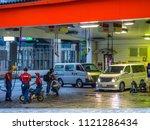 gas station in tokyo   tokyo  ... | Shutterstock . vector #1121286434