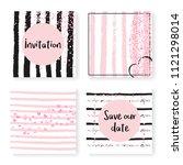 wedding invite set with glitter ... | Shutterstock .eps vector #1121298014