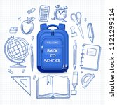 welcome back to school concept. ... | Shutterstock .eps vector #1121299214