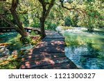 wooden pathway in the deep... | Shutterstock . vector #1121300327