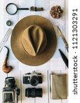 adventure planning flat lay....   Shutterstock . vector #1121303291