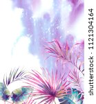 watercolor summer background.... | Shutterstock . vector #1121304164