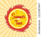 summer time theme with slice of ... | Shutterstock .eps vector #1121307647