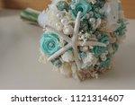marine themed bridal bouquet | Shutterstock . vector #1121314607