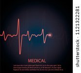 cardiology concept with pulse... | Shutterstock .eps vector #1121322281