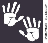 two wight hand palm vector icon....   Shutterstock .eps vector #1121330624